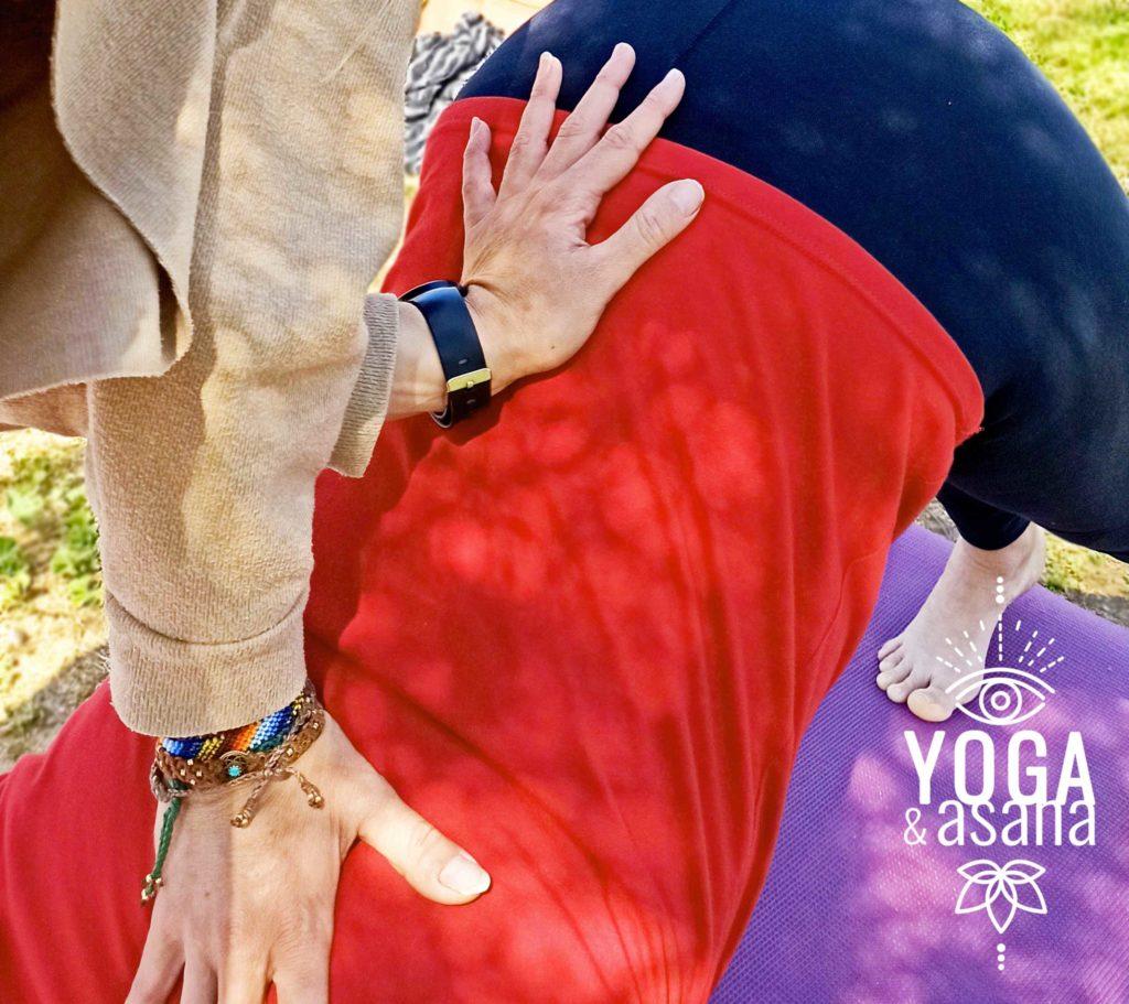 alignement du dos avec les mains professeur élève de Yoga & Asana lors d'un cours collectif dans un parc à Sète