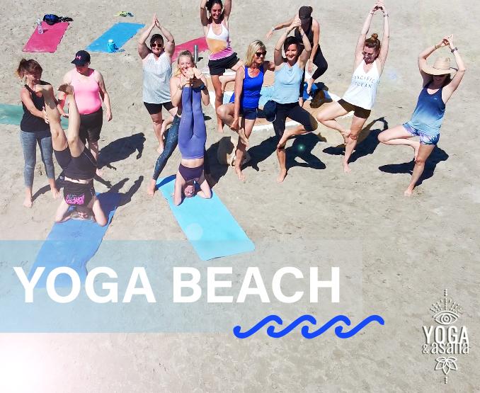 groupe d'élève de yoga et asana cours de yoga collectif à la plage